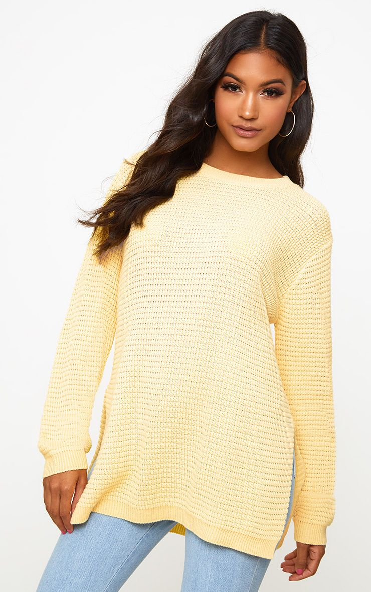 Yellow Purl Knit Jumper