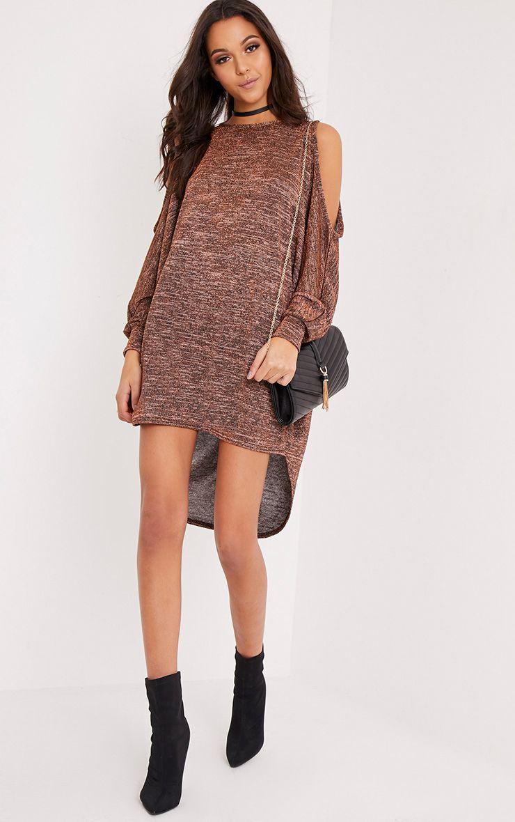 Rayna Bronze Cold Shoulder Lurex Shift Dress