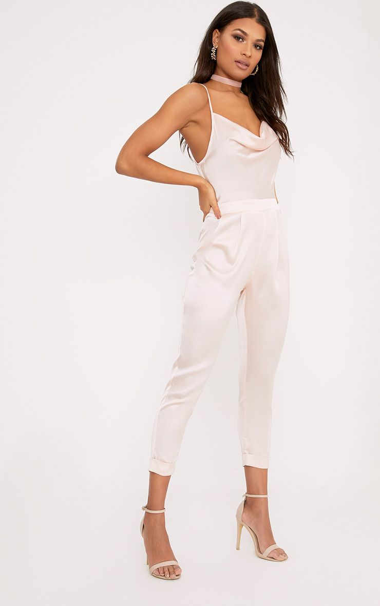 Kathy Nude Satin Cowl Neck Jumpsuit