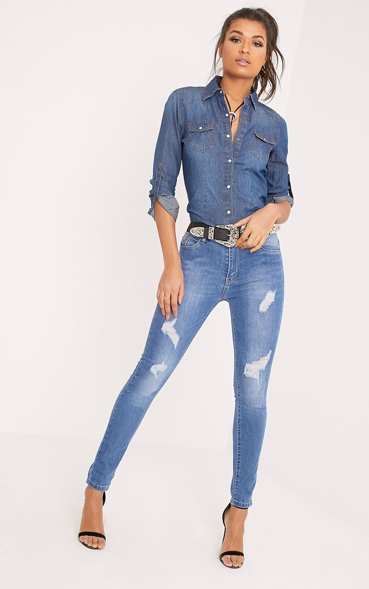 Sopheia Mid Wash Distressed Skinny Jean