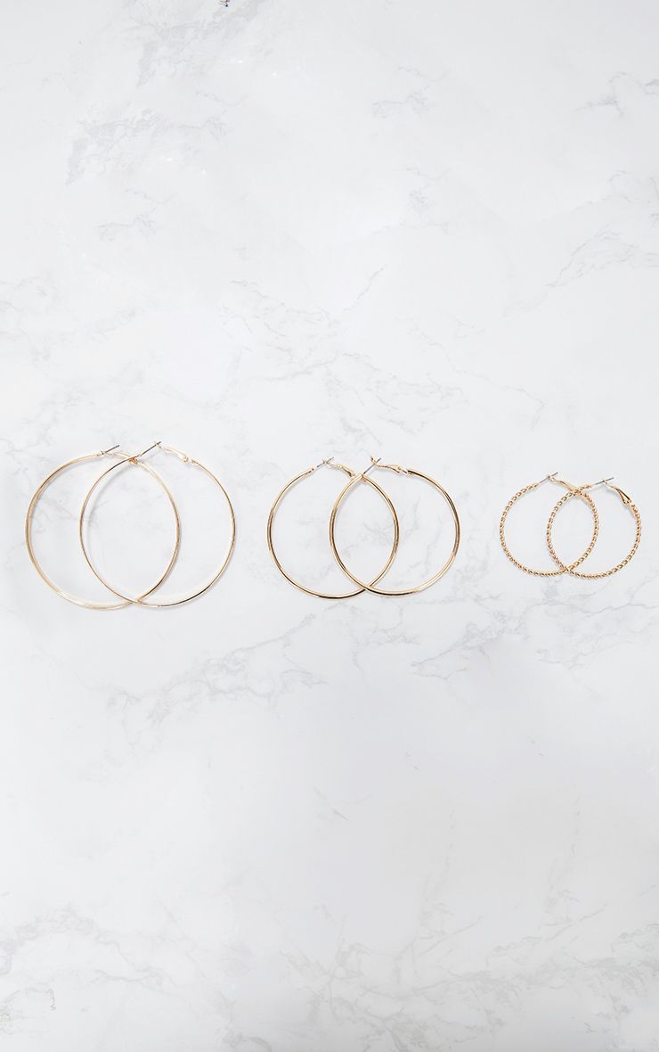 Gold Three Pack Assorted Hoop Earrings