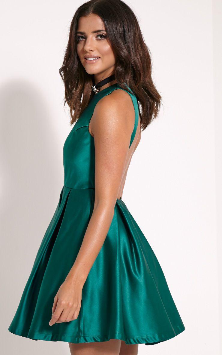 Deborah Bottle Green Backless Skater Dress 1