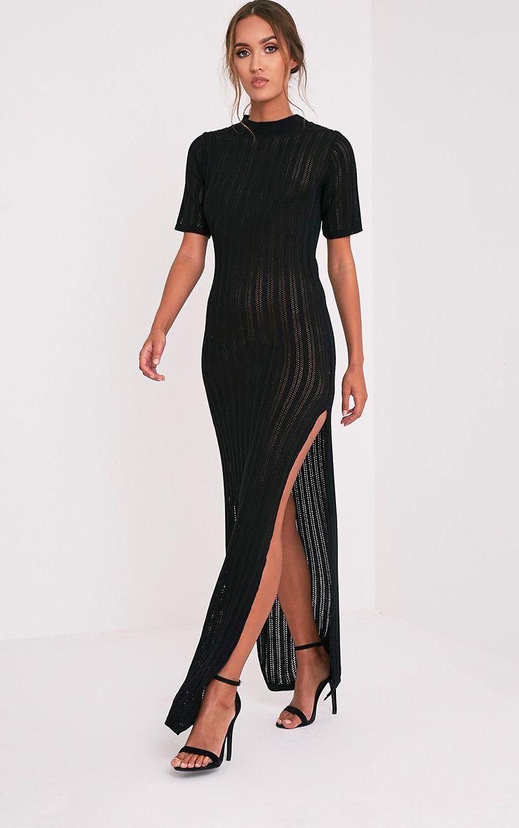Zaria robe maxi tricotée à rayures noire 5