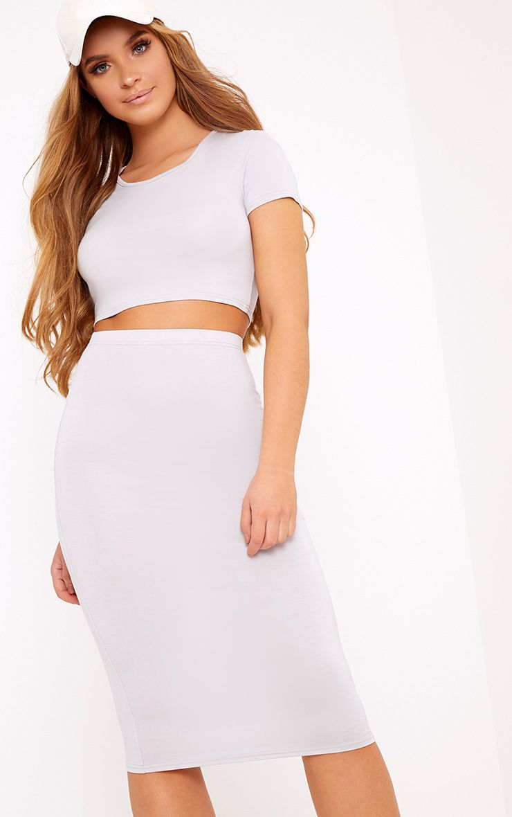 Anaceila Dove Grey Jersey Top & Midi Skirt Set 1