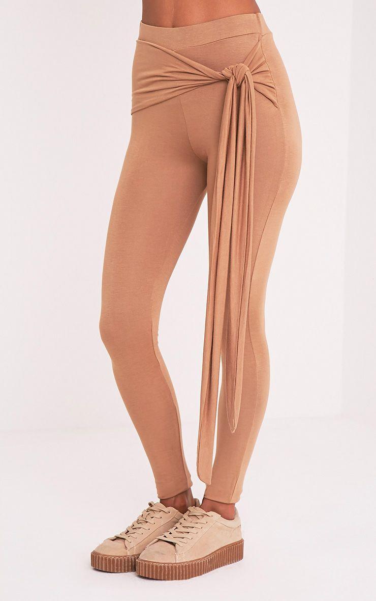 Basic Camel Tie Front Leggings 4