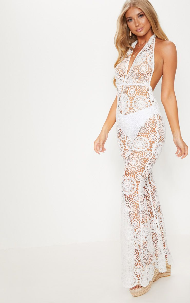 WHITE CROCHET LACE HALTERNECK JUMPSUIT