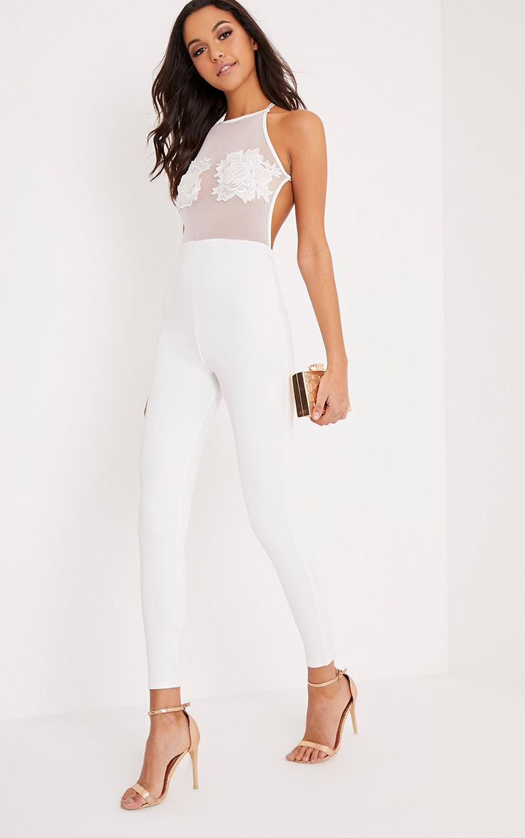 Nelly Cream Embroidery Mesh Jumpsuit