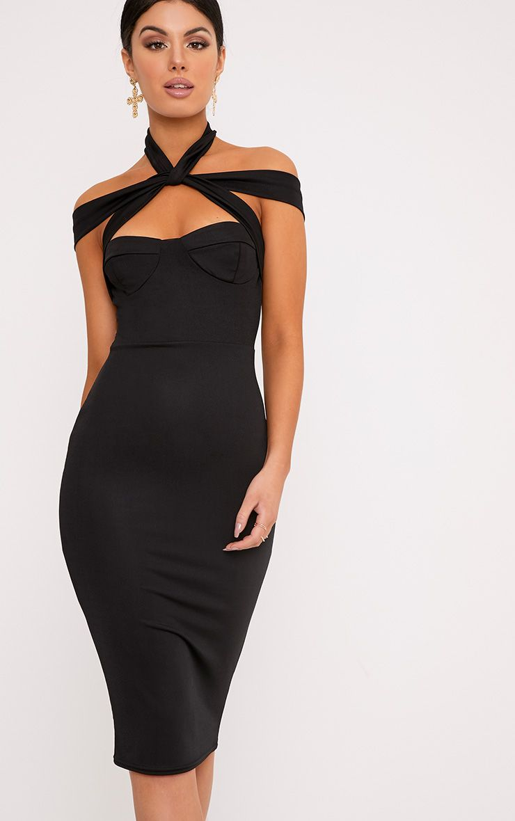Pandara Black Strappy Top Detail Midi Dress