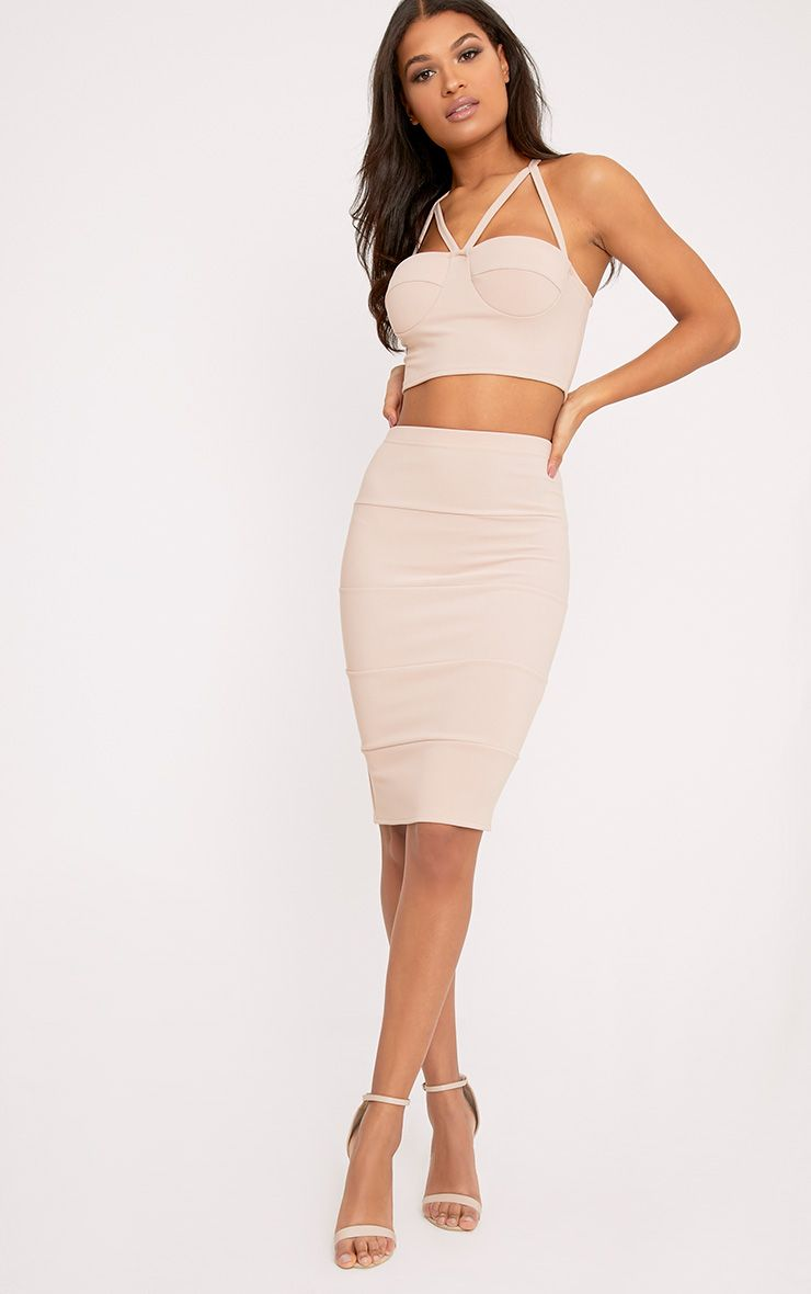 Lindy Nude Bandage Panelled Midi Skirt