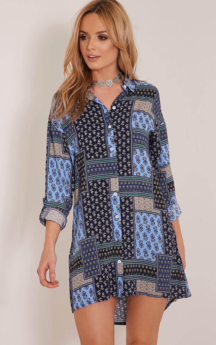 Josey Blue Printed Shirt Dress 1