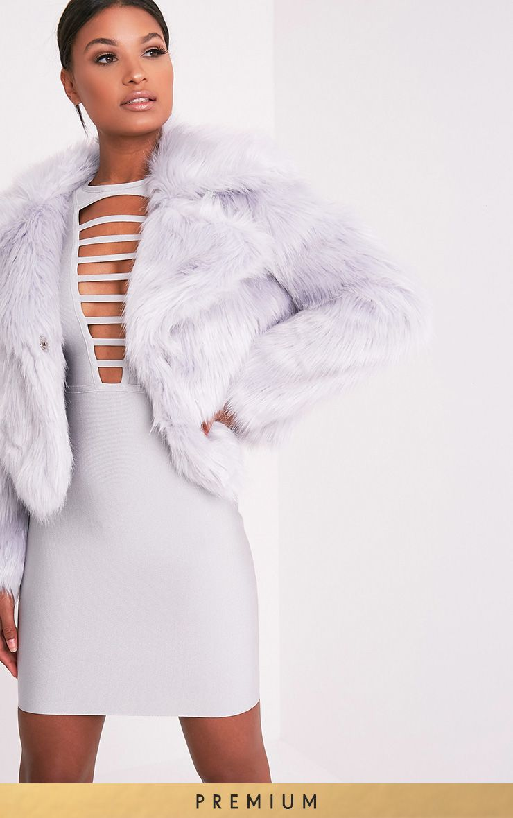 Sophiah Ice Grey Faux Fur Jacket