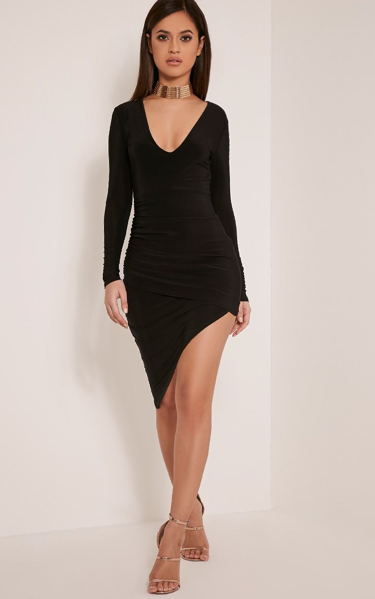 Una Black Plunge Neck Ruched Asymmetric Dress 1