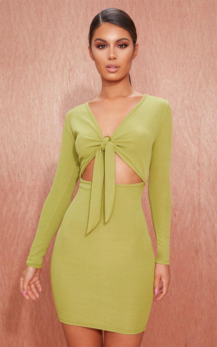 Khaki Ribbed Long Sleeve Tie Front Bodycon Dress 1