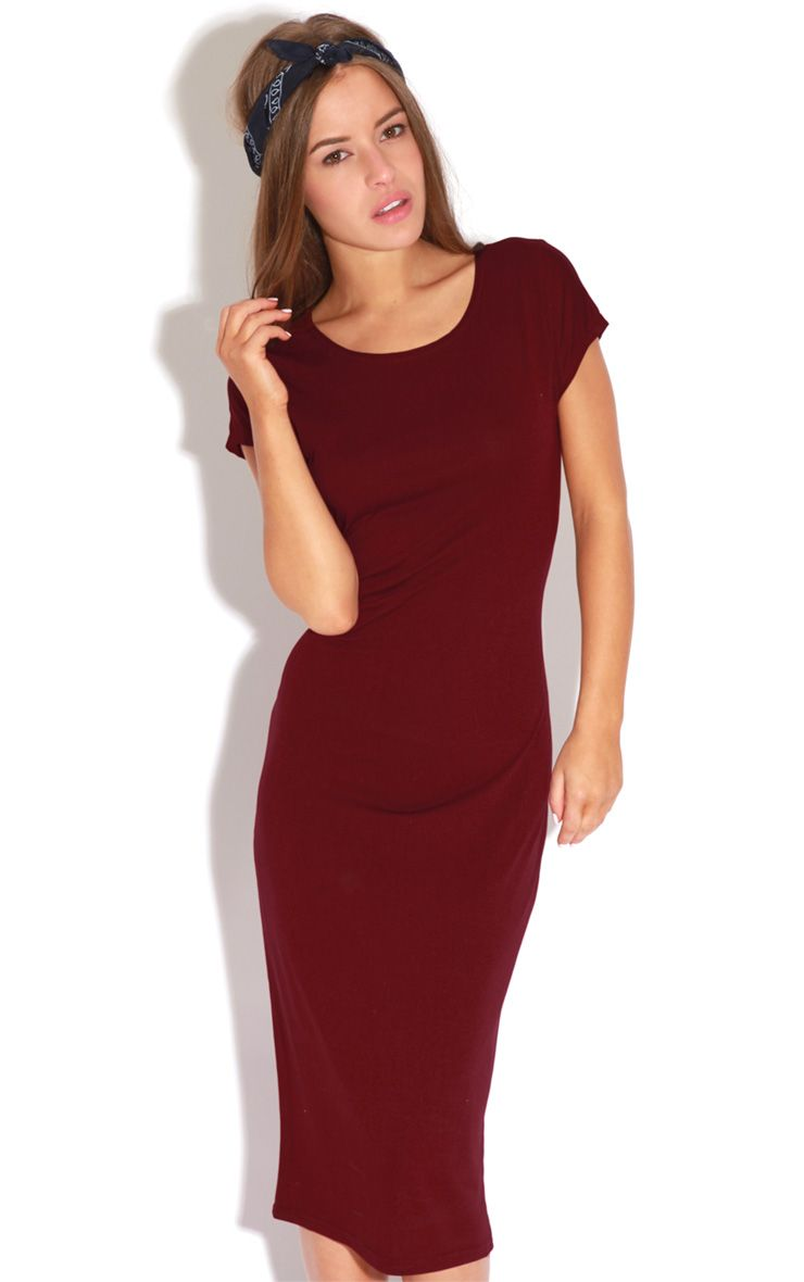 Kalia Short Sleeve Burgundy Midi Dress 1