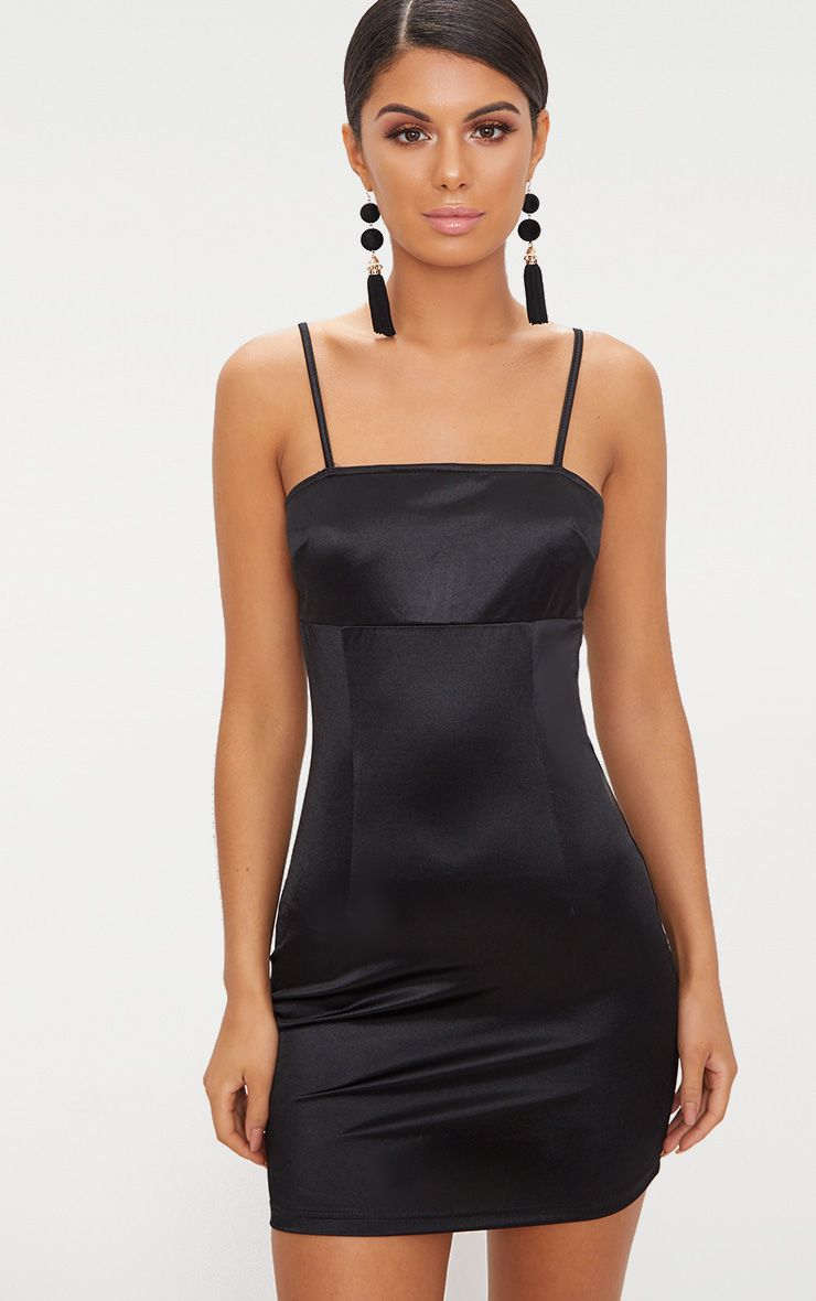 Black Straight Neck Strappy Satin Bodycon Dress