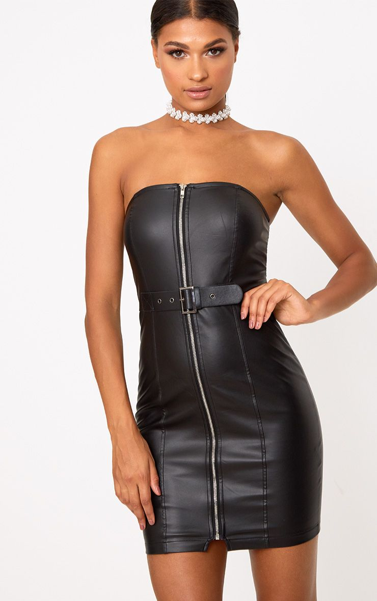 Black Faux Leather Belt Detail Bodycon Dress