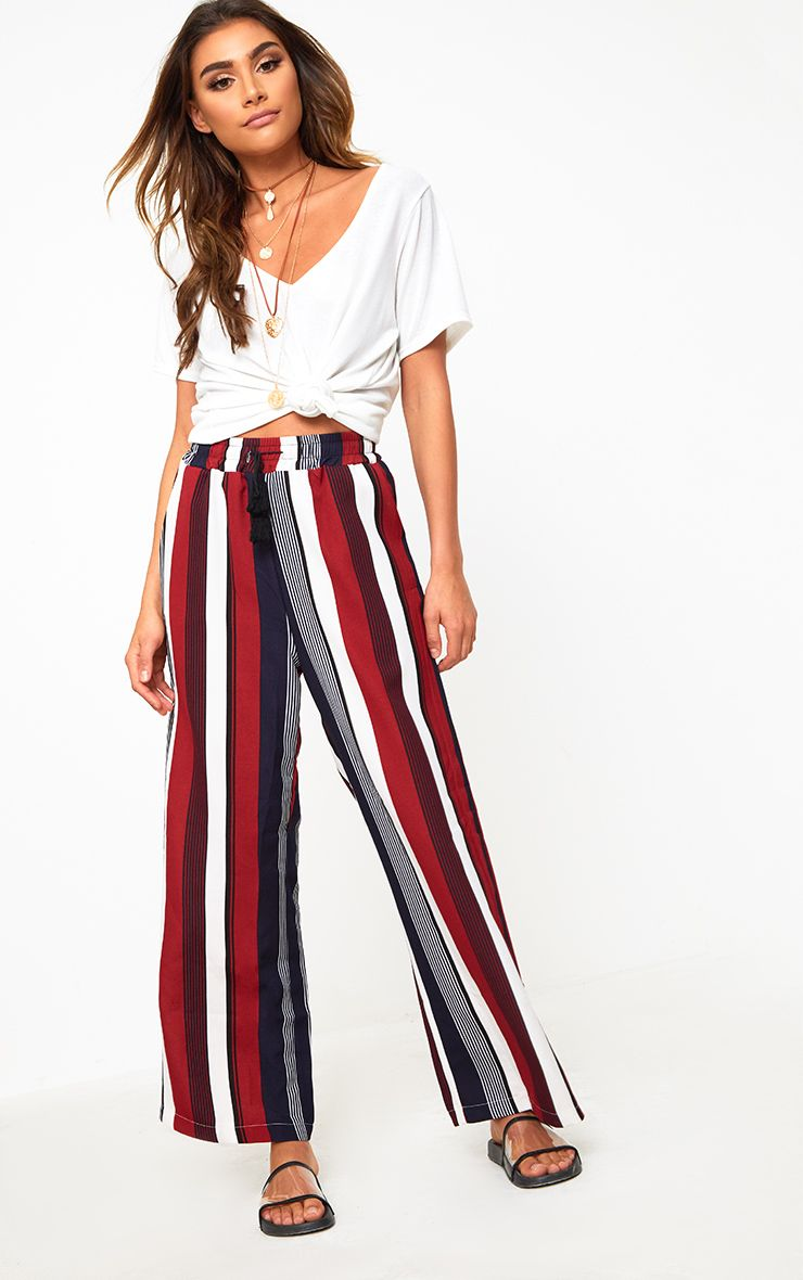 Dark Red Stripe Wide Leg Trousers