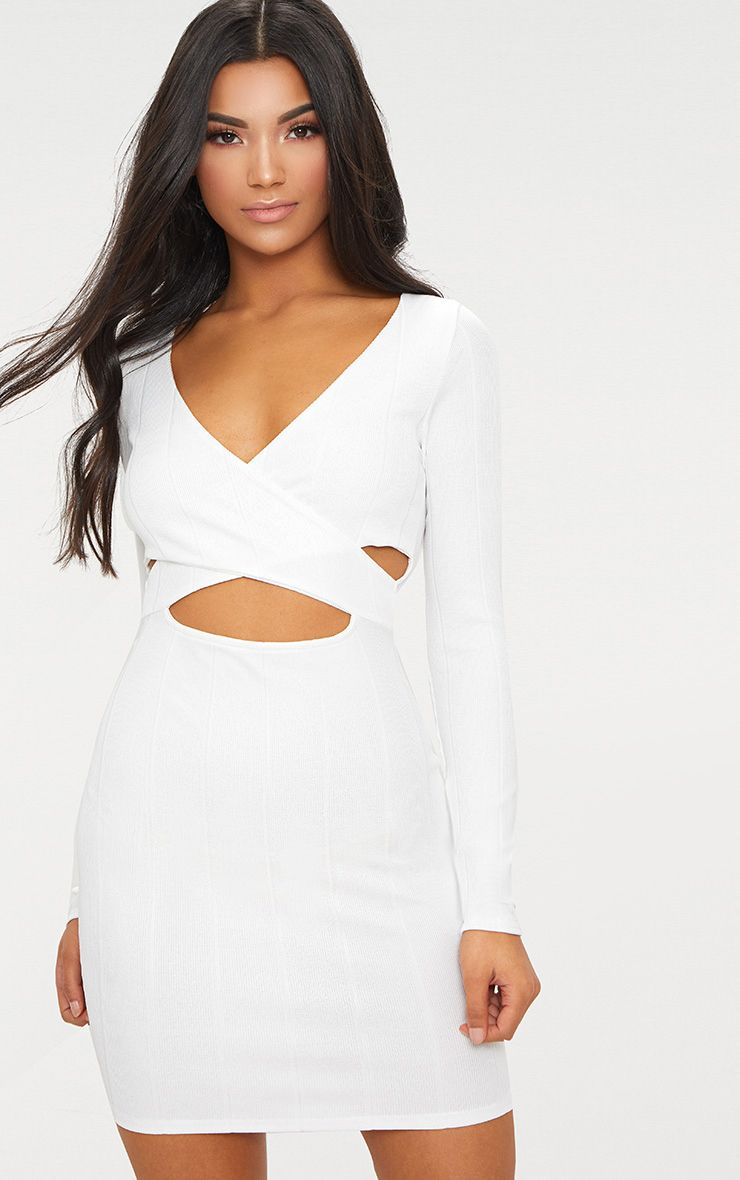 White Bandage Cross Front Cut Out Detail Bodycon Dress