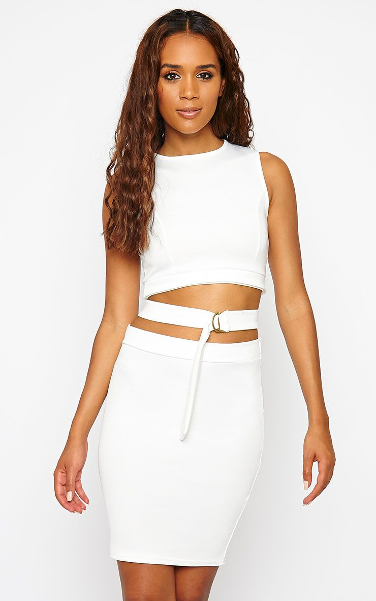 Belle Cream Belted Mini Dress 1