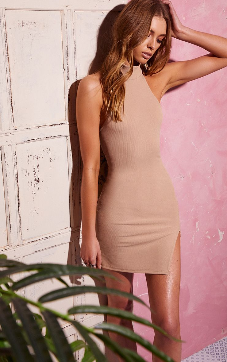 Stone Ribbed High Neck Split Detail Bodycon Dress