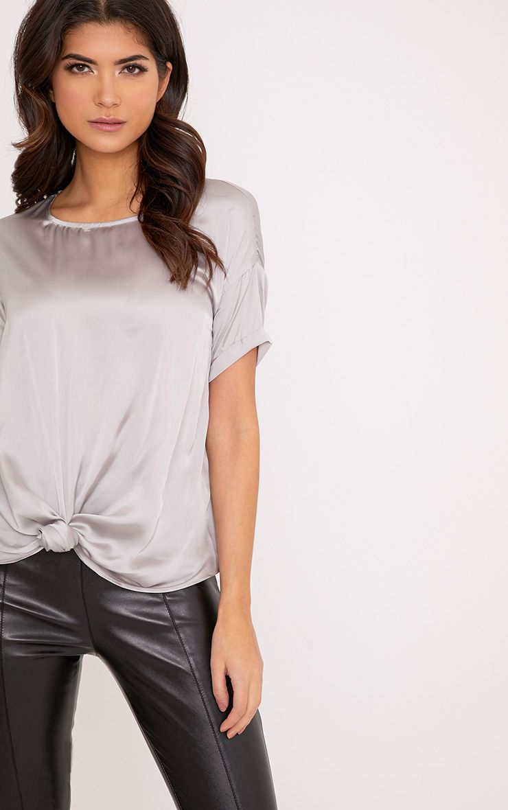 Daisy Silver Grey Satin Knot Front T-Shirt