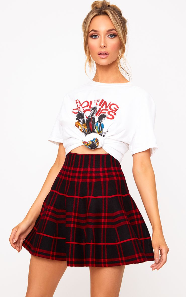 Black/Red Check Knitted A Line Skirt