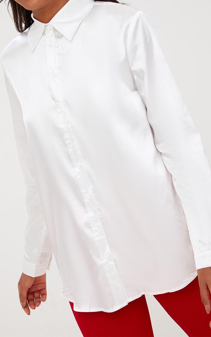 WHITE SATIN BUTTON FRONT SHIRT