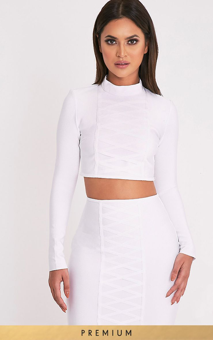 Kailyn White Premium Bandage Long Sleeve Crop Top 1