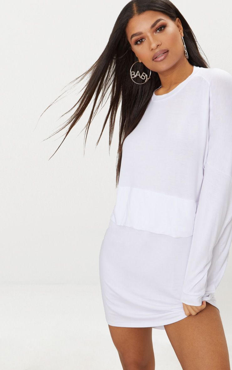White Layer Shirt Dress Pretty Little Thing