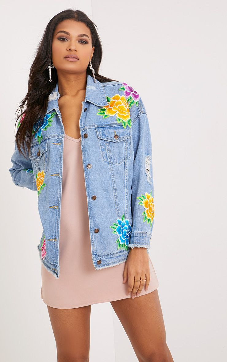 Coby Light Wash Flower Applique Oversized Denim Jacket