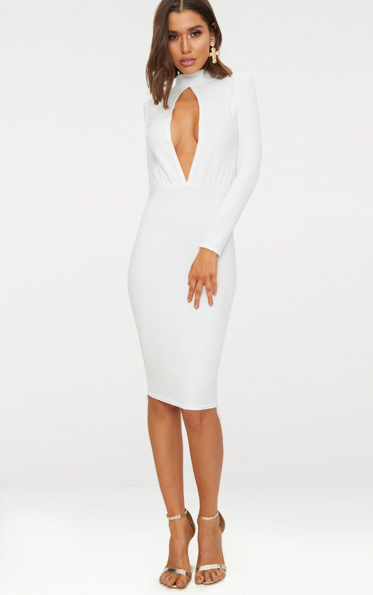 White Keyhole Cut Out Midi Dress