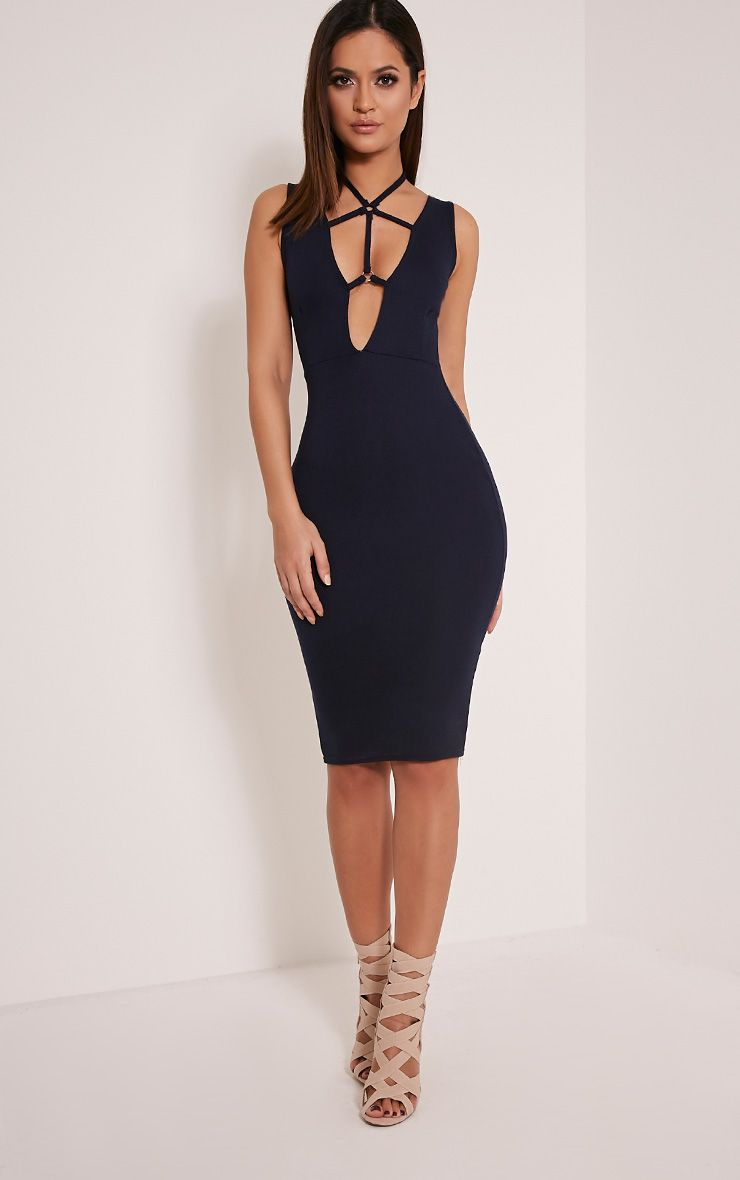 Raynie Navy Sleeveless Harness Midi Dress 1