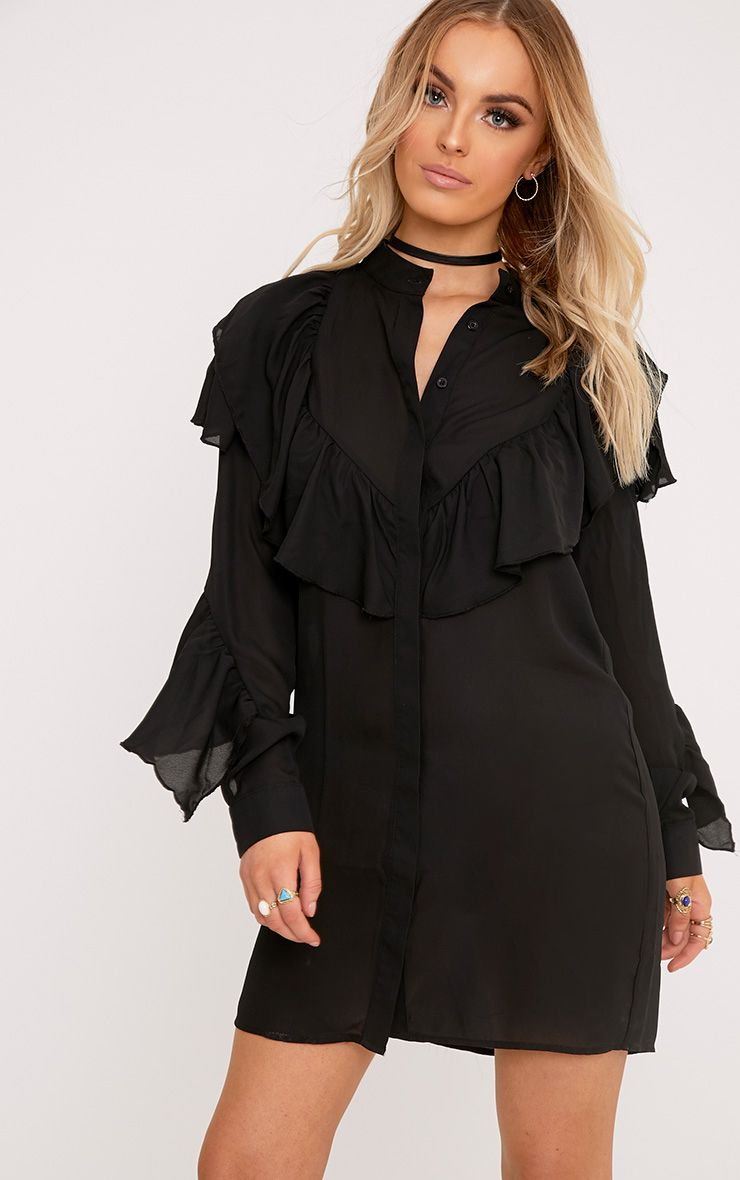 Jezmeena Black Frill Detail Shirt Dress