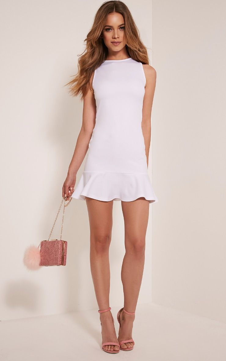 Amanie White Drop Hem Bodycon Dress