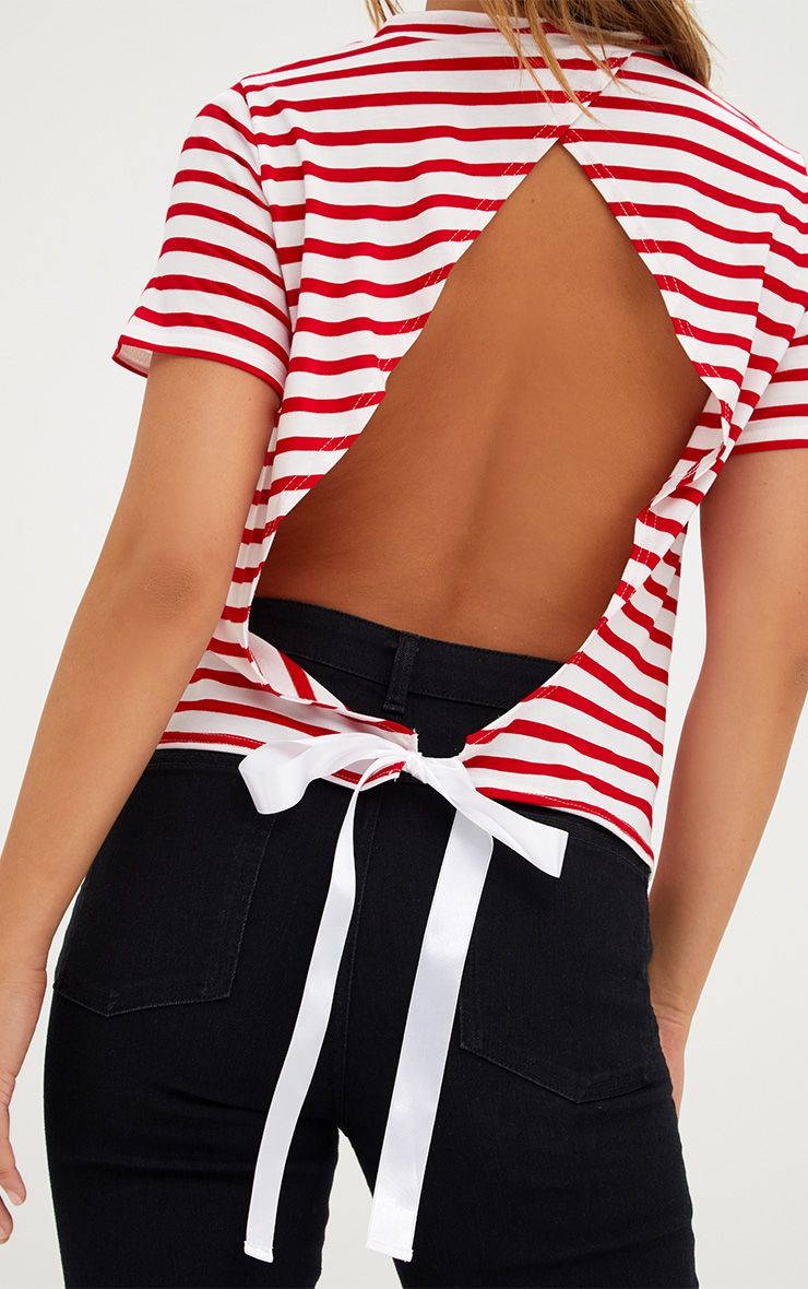 Red stripe ribbon tie open back t shirt tops for How to make a tie back shirt