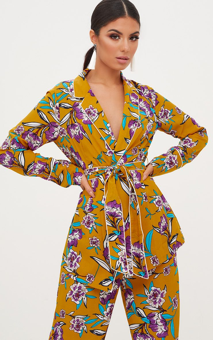 Mustard Contrast Piping Floral Jacket