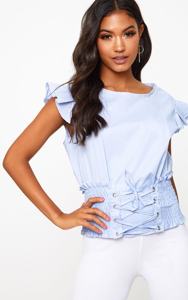 Blue Corset Frill Sleeve Shirt