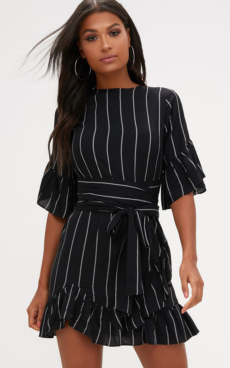 Black Stripe Frill Detail Mini Dress