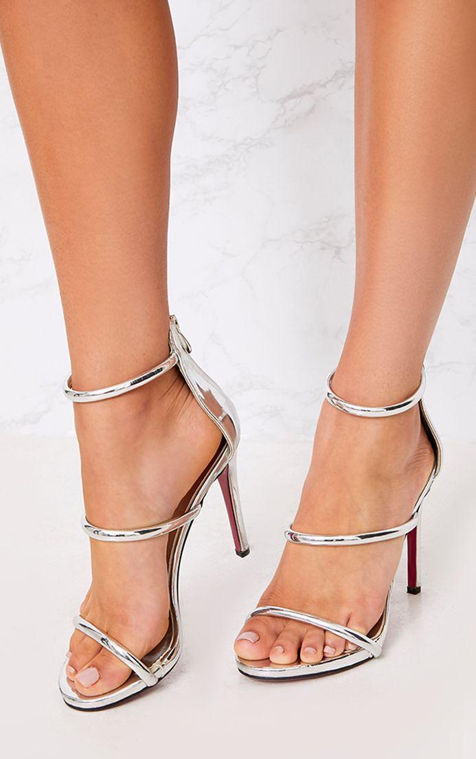Marthea sandales à talons à brides argentées effet tube