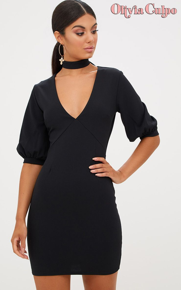 Black Neck Tie Puff Sleeve Bodycon Dress