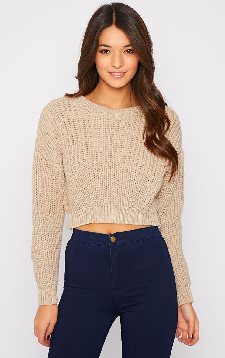 Teri Stone Round Neck Cropped Knit Jumper  1