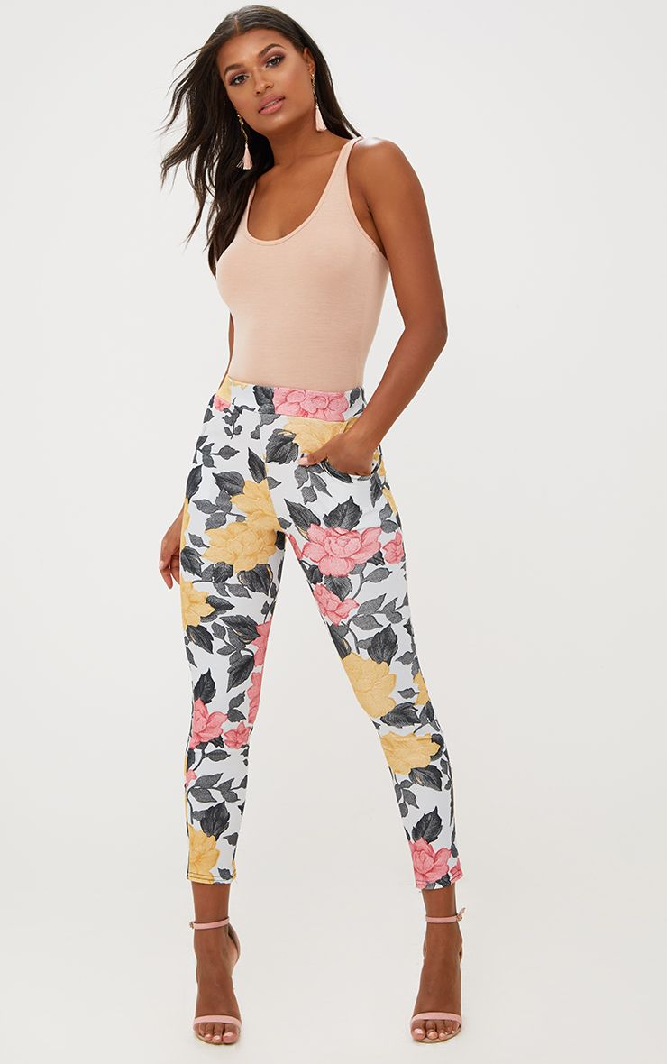 Grey Large Floral Skinny Trousers