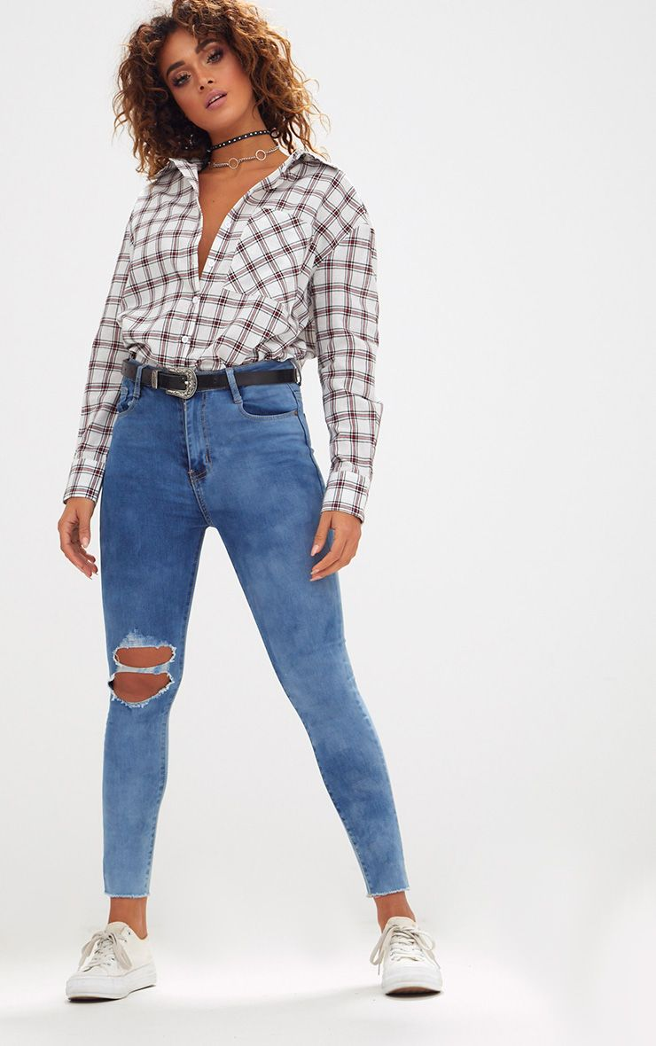 Mid Wash Double Knee Rip High Waisted Skinny Jean