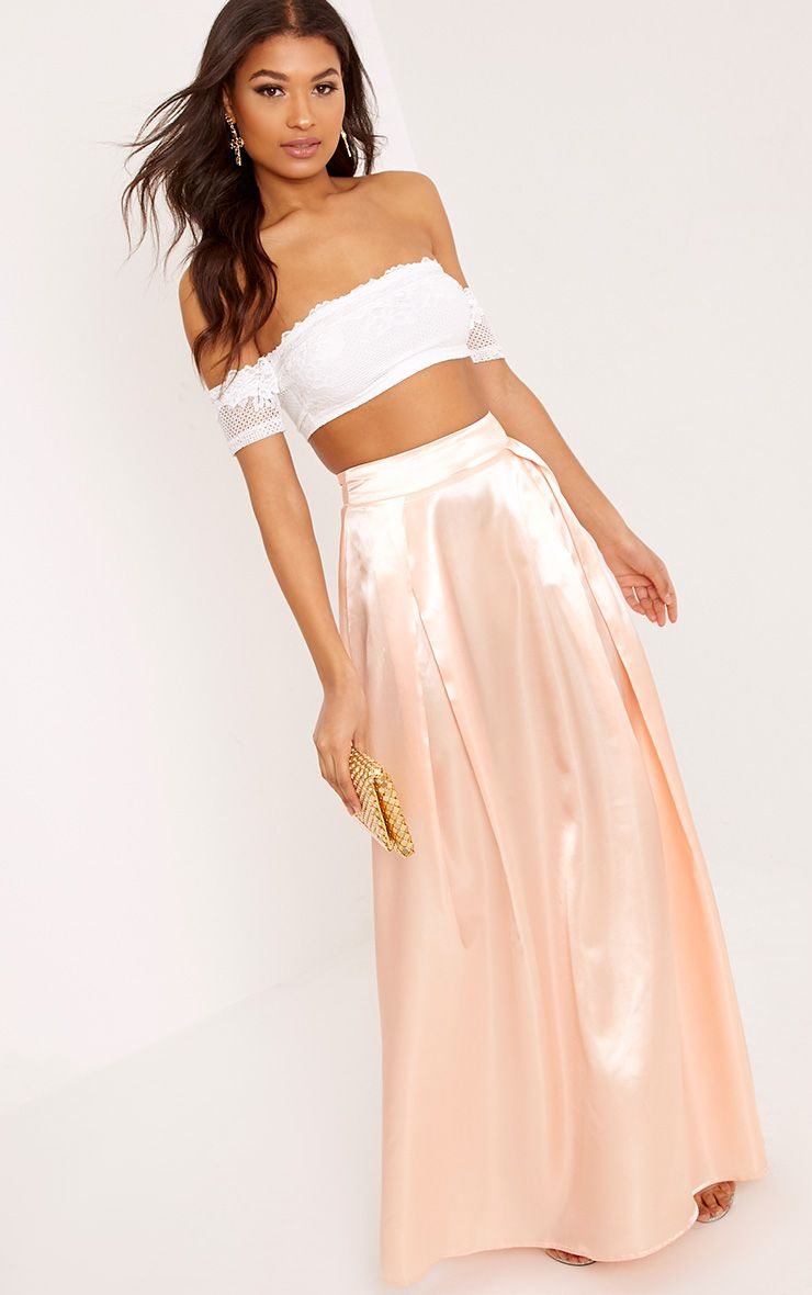 Ruthie Light Peach Satin Maxi Prom Skirt