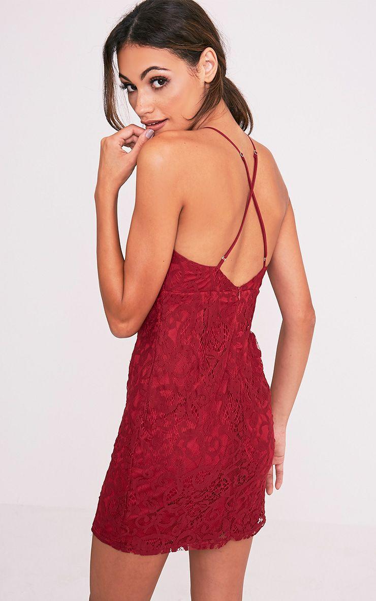 Elora Burgundy Cross Back Lace Mini Dress 1