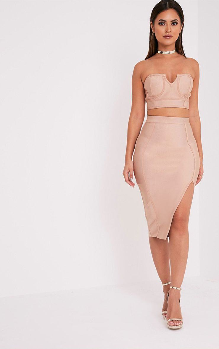 Caitlyn Camel Bandage Midi Skirt