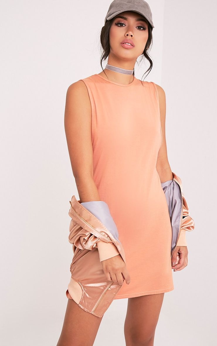 Maddy Deep Peach Drop Armhole Sleeveless T-Shirt Dress