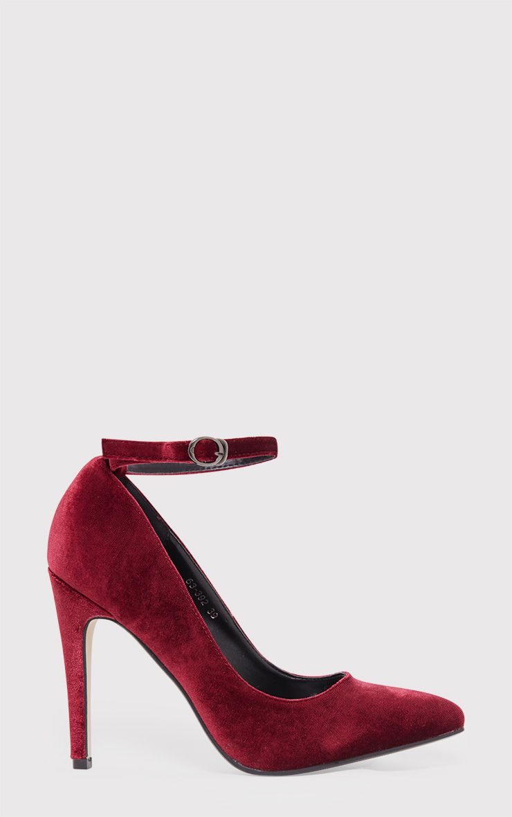 Demmi Burgundy Velvet Strap Court Shoes