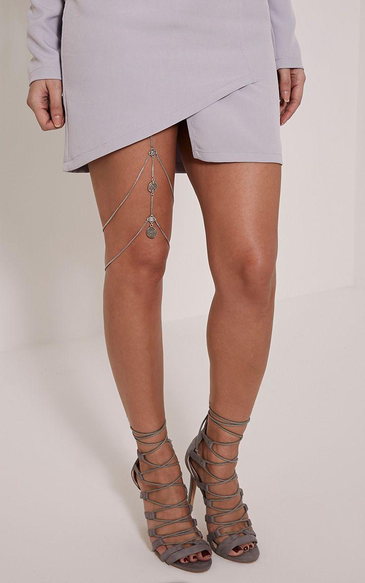 Cassey Silver Chain Leg Harness 1