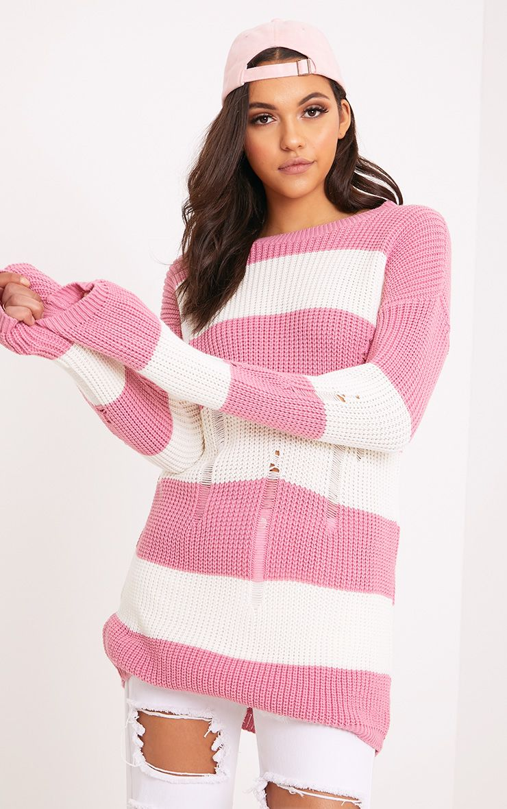 Juley Pink Striped Distress Oversized Jumper